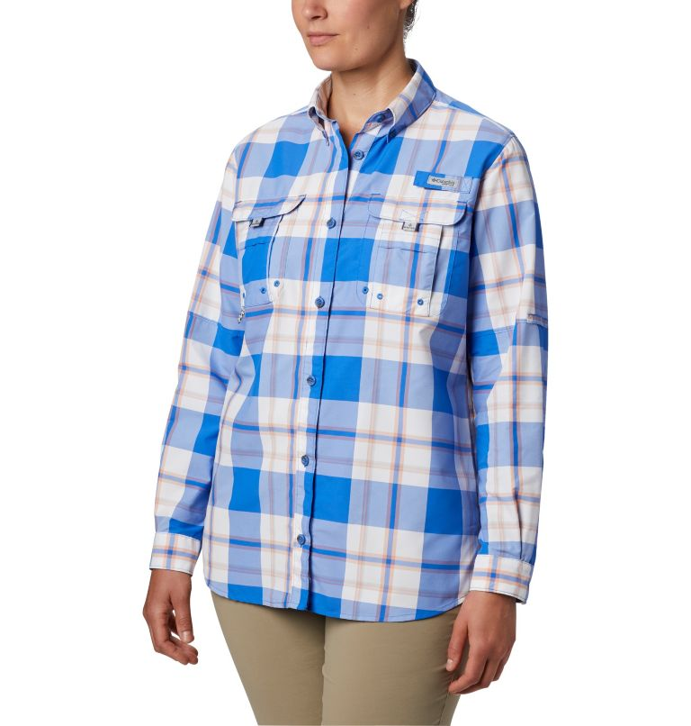 Womens Super Bahama™ LS | 428 | M Women's PFG Super Bahama™ Long Sleeve Shirt, Stormy Blue Plaid, front