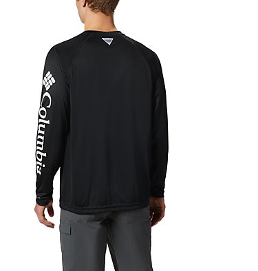 Men's PFG Terminal Tackle™ Long Sleeve Shirt Terminal Tackle™ LS Shirt | 472 | XS, Black, Cool Grey Logo, back