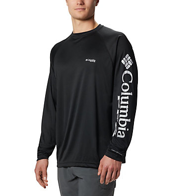 Men's PFG Terminal Tackle™ Long Sleeve Shirt Terminal Tackle™ LS Shirt | 480 | S, Black, Cool Grey Logo, front