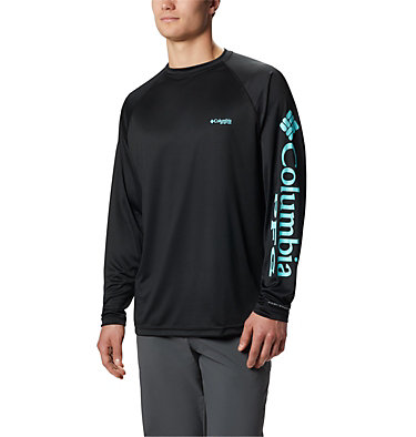 Men's PFG Terminal Tackle™ Long Sleeve Shirt Terminal Tackle™ LS Shirt | 472 | XS, Black, Gulf Stream Logo, front