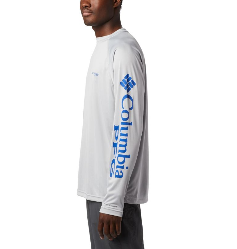 Terminal Tackle™ LS Shirt | 028 | XS Men's PFG Terminal Tackle™ Long Sleeve Shirt, Cool Grey, Vivid Blue Logo, a1