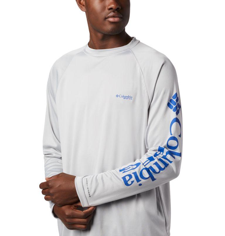 Terminal Tackle™ LS Shirt | 028 | XS Men's PFG Terminal Tackle™ Long Sleeve Shirt, Cool Grey, Vivid Blue Logo, a2