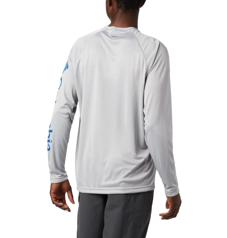 Terminal Tackle™ LS Shirt | 028 | XL Men's PFG Terminal Tackle™ Long Sleeve Shirt, Cool Grey, Vivid Blue Logo, a3