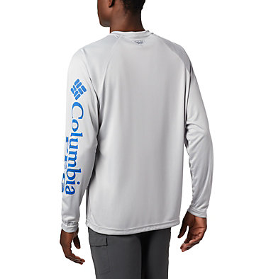 Men's PFG Terminal Tackle™ Long Sleeve Shirt Terminal Tackle™ LS Shirt | 472 | XS, Cool Grey, Vivid Blue Logo, back