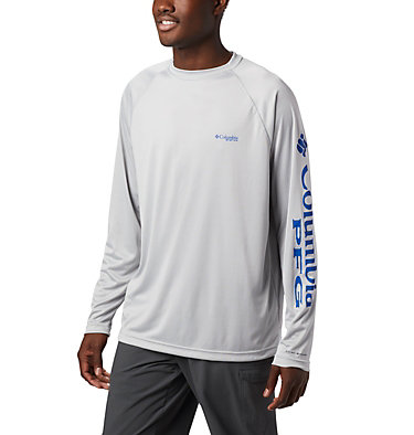 Men's PFG Terminal Tackle™ Long Sleeve Shirt Terminal Tackle™ LS Shirt | 472 | XS, Cool Grey, Vivid Blue Logo, front