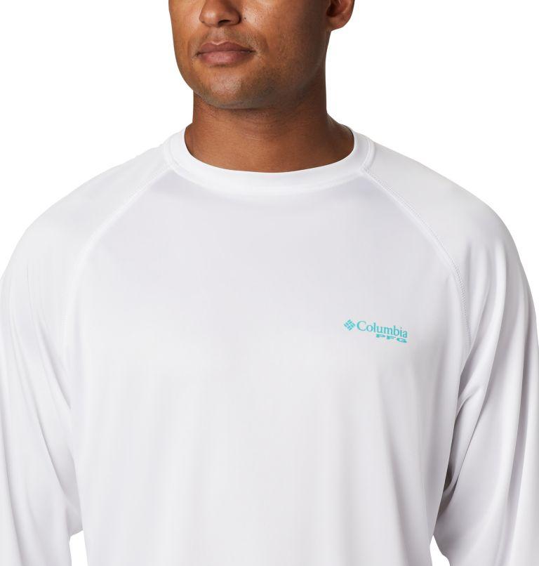 Terminal Tackle™ LS Shirt | 113 | XXL Men's PFG Terminal Tackle™ Long Sleeve Shirt, White, Bright Aqua Logo, a2