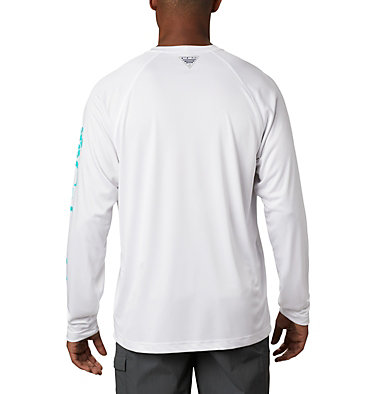 Men's PFG Terminal Tackle™ Long Sleeve Shirt Terminal Tackle™ LS Shirt | 480 | S, White, Bright Aqua Logo, back