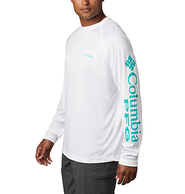 Men's PFG Terminal Tackle™ Long Sleeve Shirt Terminal Tackle™ LS Shirt | 472 | XS, White, Bright Aqua Logo, front