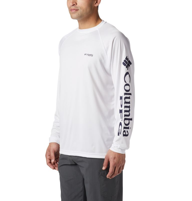 Terminal Tackle™ LS Shirt | 114 | S Men's PFG Terminal Tackle™ Long Sleeve Shirt, White, Nightshade Logo, a3