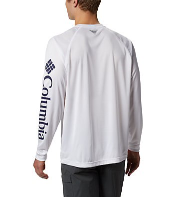 Men's PFG Terminal Tackle™ Long Sleeve Shirt Terminal Tackle™ LS Shirt | 472 | XS, White, Nightshade Logo, back