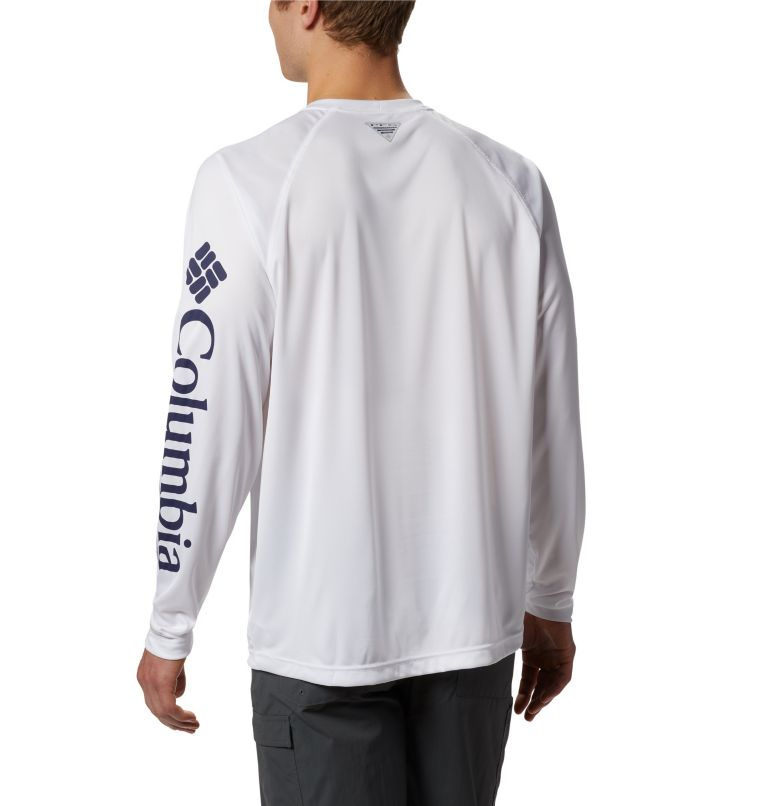 Terminal Tackle™ LS Shirt | 114 | S Men's PFG Terminal Tackle™ Long Sleeve Shirt, White, Nightshade Logo, back
