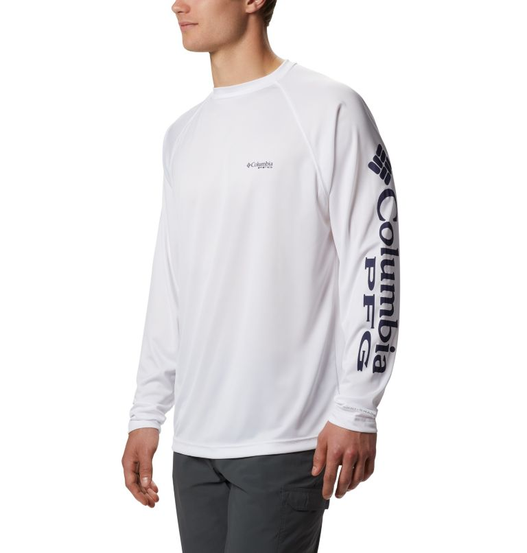 Terminal Tackle™ LS Shirt | 114 | S Men's PFG Terminal Tackle™ Long Sleeve Shirt, White, Nightshade Logo, front