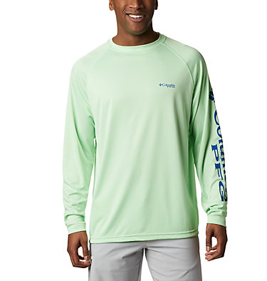 Men's PFG Terminal Tackle™ Long Sleeve Shirt Terminal Tackle™ LS Shirt | 472 | XS, Key West, Vivid Blue Logo, front