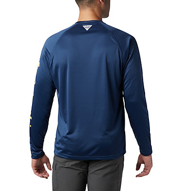 Men's PFG Terminal Tackle™ Long Sleeve Shirt Terminal Tackle™ LS Shirt | 472 | XS, Carbon, Sunlit Logo, back