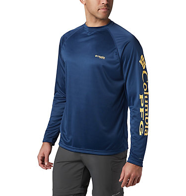 Men's PFG Terminal Tackle™ Long Sleeve Shirt Terminal Tackle™ LS Shirt | 472 | XS, Carbon, Sunlit Logo, front