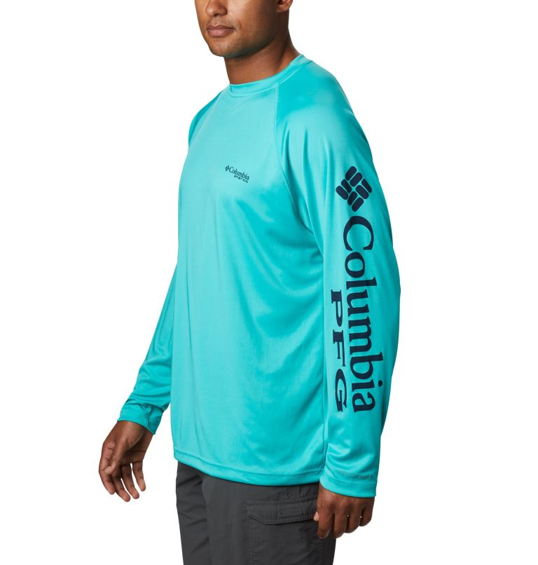Terminal Tackle™ LS Shirt | 473 | XXL Men's PFG Terminal Tackle™ Long Sleeve Shirt, Bright Aqua, Collegiate Navy Logo, a1