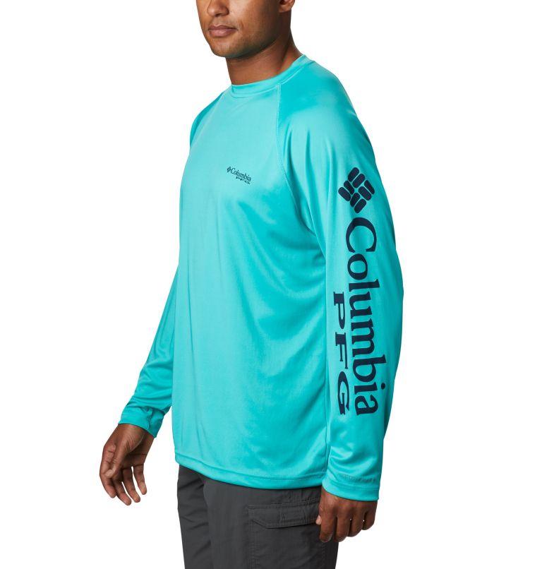 Terminal Tackle™ LS Shirt | 473 | S Men's PFG Terminal Tackle™ Long Sleeve Shirt, Bright Aqua, Collegiate Navy Logo, a1