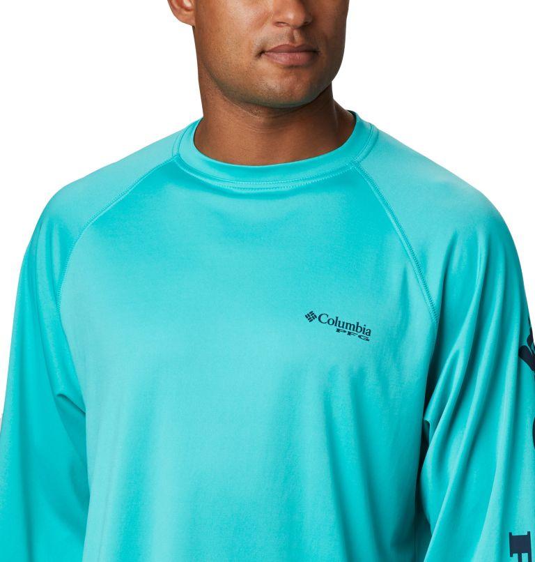 Terminal Tackle™ LS Shirt | 473 | S Men's PFG Terminal Tackle™ Long Sleeve Shirt, Bright Aqua, Collegiate Navy Logo, a2