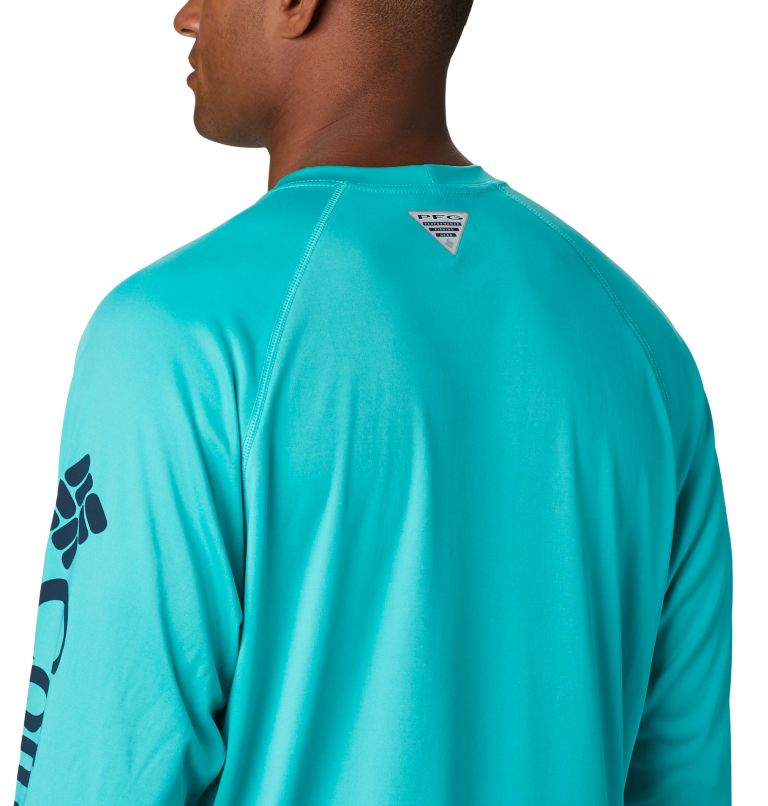Terminal Tackle™ LS Shirt | 473 | XXL Men's PFG Terminal Tackle™ Long Sleeve Shirt, Bright Aqua, Collegiate Navy Logo, a3