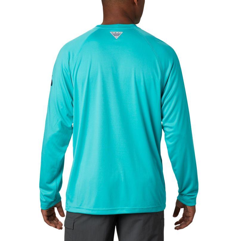 Terminal Tackle™ LS Shirt | 473 | S Men's PFG Terminal Tackle™ Long Sleeve Shirt, Bright Aqua, Collegiate Navy Logo, back