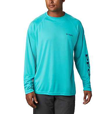 Men's PFG Terminal Tackle™ Long Sleeve Shirt Terminal Tackle™ LS Shirt | 472 | XS, Bright Aqua, Collegiate Navy Logo, front