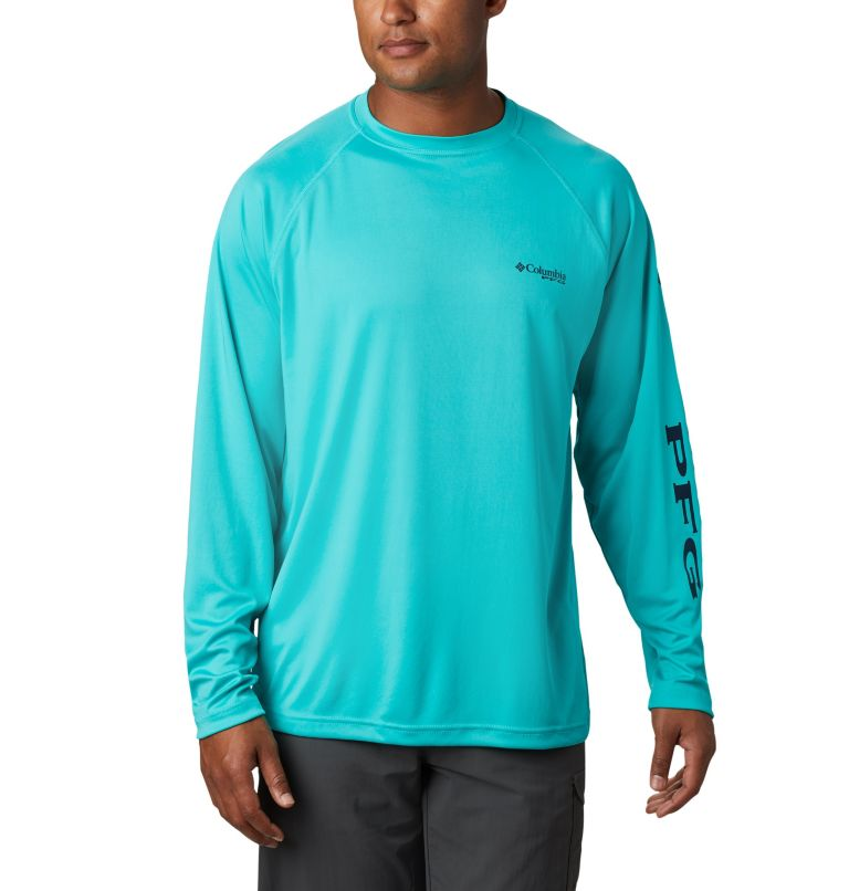Terminal Tackle™ LS Shirt | 473 | XXL Men's PFG Terminal Tackle™ Long Sleeve Shirt, Bright Aqua, Collegiate Navy Logo, front