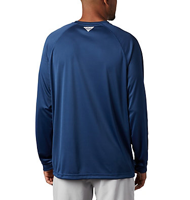 Men's PFG Terminal Tackle™ Long Sleeve Shirt Terminal Tackle™ LS Shirt | 028 | L, Carbon, Red Spark Logo, back