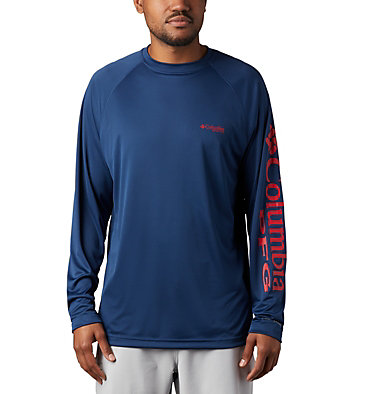 Men's PFG Terminal Tackle™ Long Sleeve Shirt Terminal Tackle™ LS Shirt | 472 | XS, Carbon, Red Spark Logo, front