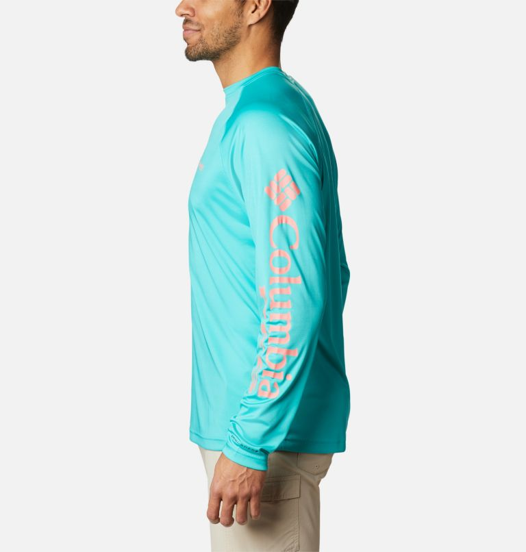 Terminal Tackle™ LS Shirt | 481 | M Men's PFG Terminal Tackle™ Long Sleeve Shirt, Bright Aqua, Salmon Logo, a1