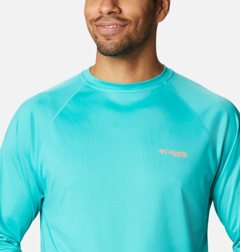 Terminal Tackle™ LS Shirt | 481 | M Men's PFG Terminal Tackle™ Long Sleeve Shirt, Bright Aqua, Salmon Logo, a2