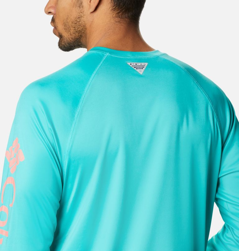 Terminal Tackle™ LS Shirt | 481 | M Men's PFG Terminal Tackle™ Long Sleeve Shirt, Bright Aqua, Salmon Logo, a3