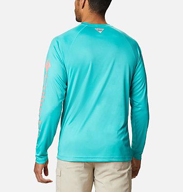 Men's PFG Terminal Tackle™ Long Sleeve Shirt Terminal Tackle™ LS Shirt | 480 | S, Bright Aqua, Salmon Logo, back