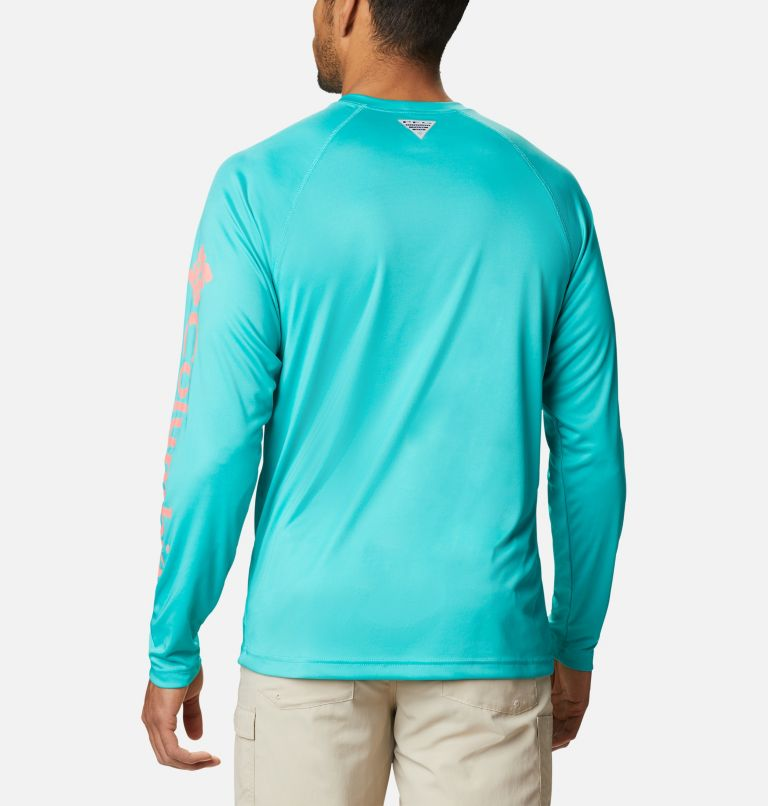 Terminal Tackle™ LS Shirt | 481 | M Men's PFG Terminal Tackle™ Long Sleeve Shirt, Bright Aqua, Salmon Logo, back