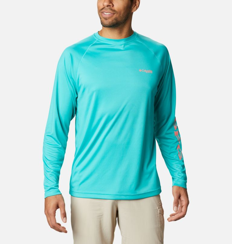 Terminal Tackle™ LS Shirt | 481 | M Men's PFG Terminal Tackle™ Long Sleeve Shirt, Bright Aqua, Salmon Logo, front