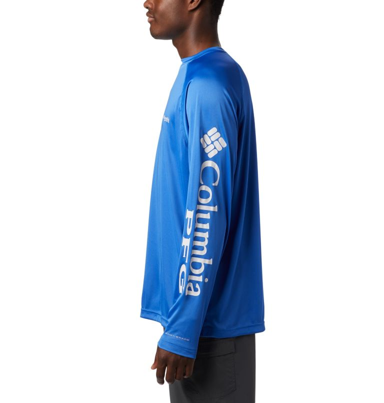 Terminal Tackle™ LS Shirt | 488 | M Men's PFG Terminal Tackle™ Long Sleeve Shirt, Vivid Blue, Cool Grey Logo, a1