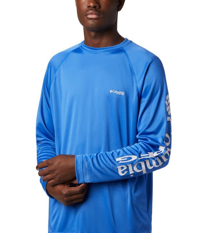 Terminal Tackle™ LS Shirt | 488 | M Men's PFG Terminal Tackle™ Long Sleeve Shirt, Vivid Blue, Cool Grey Logo, a2