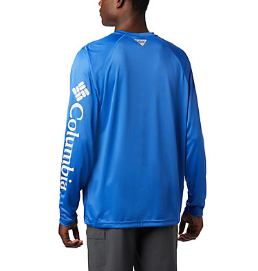 Men's PFG Terminal Tackle™ Long Sleeve Shirt Terminal Tackle™ LS Shirt | 472 | XS, Vivid Blue, Cool Grey Logo, back