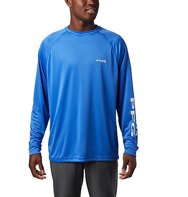 Men's PFG Terminal Tackle™ Long Sleeve Shirt Terminal Tackle™ LS Shirt | 480 | S, Vivid Blue, Cool Grey Logo, front
