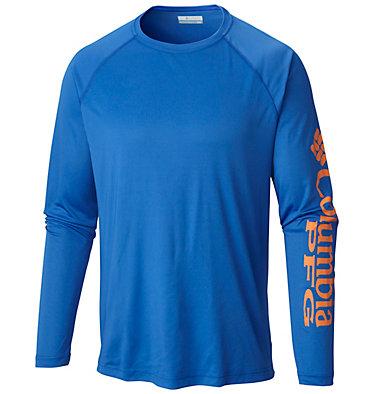 Men's PFG Terminal Tackle™ Long Sleeve Shirt Terminal Tackle™ LS Shirt | 472 | XS, Vivid Blue, Jupiter Logo, front