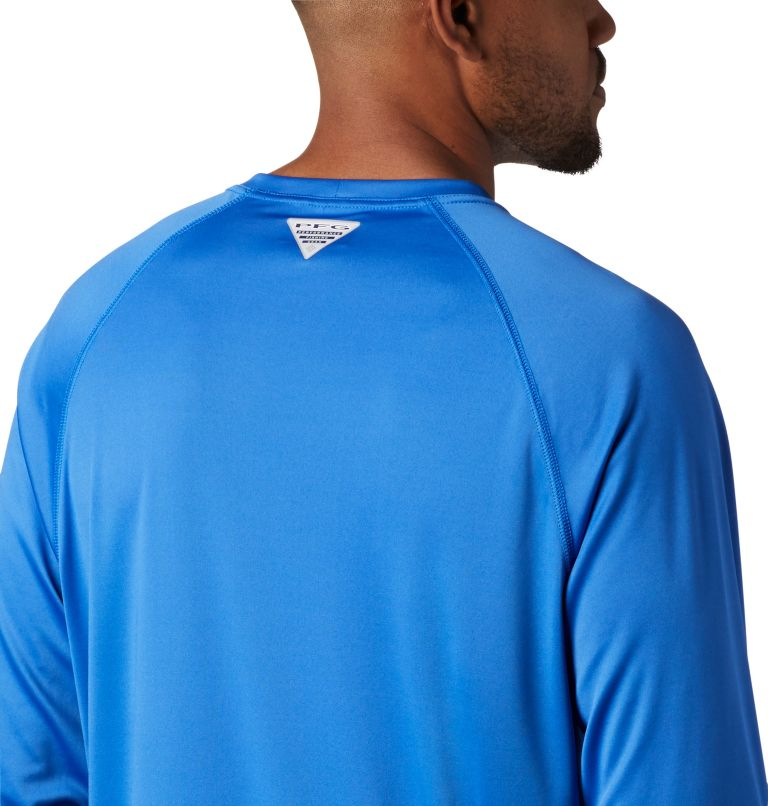 Terminal Tackle™ LS Shirt | 493 | L Men's PFG Terminal Tackle™ Long Sleeve Shirt, Vivid Blue, Bright Nectar Logo, a3