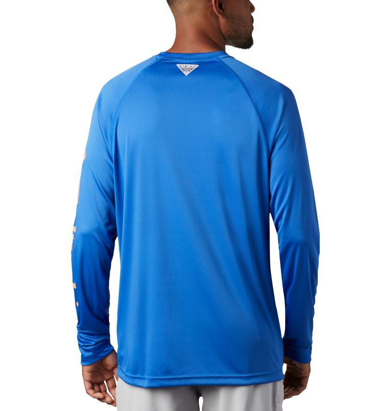 Terminal Tackle™ LS Shirt | 493 | L Men's PFG Terminal Tackle™ Long Sleeve Shirt, Vivid Blue, Bright Nectar Logo, back