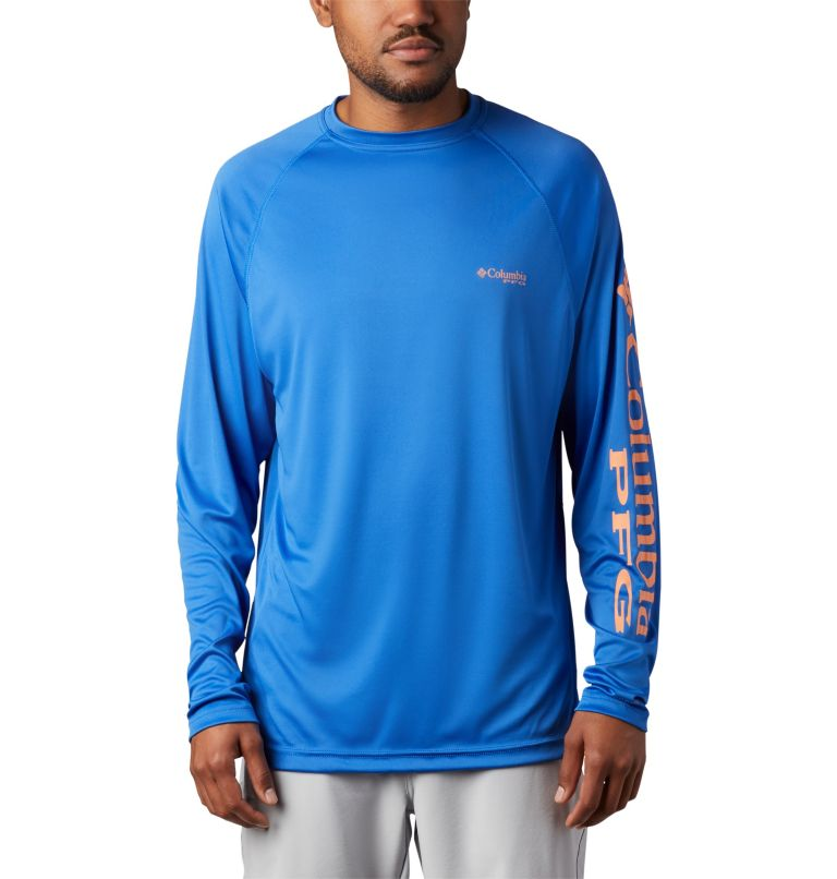 Terminal Tackle™ LS Shirt | 493 | L Men's PFG Terminal Tackle™ Long Sleeve Shirt, Vivid Blue, Bright Nectar Logo, front