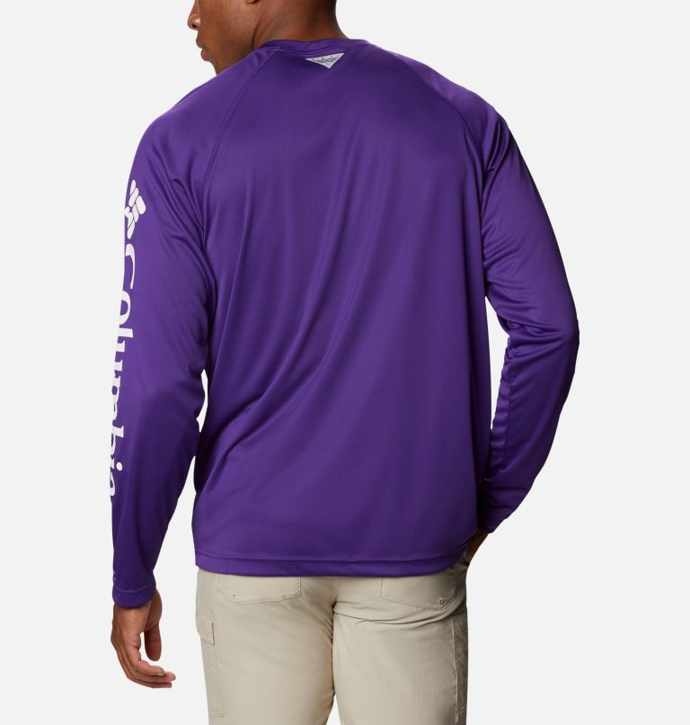 Terminal Tackle™ LS Shirt | 517 | L Men's PFG Terminal Tackle™ Long Sleeve Shirt, Vivid Purple, White Logo, back