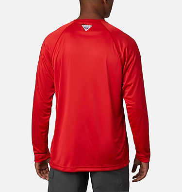 Men's PFG Terminal Tackle™ Long Sleeve Shirt Terminal Tackle™ LS Shirt | 472 | XS, Red Spark, White Logo, back