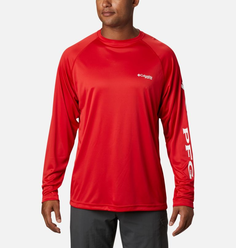 Terminal Tackle™ LS Shirt | 696 | XS Men's PFG Terminal Tackle™ Long Sleeve Shirt, Red Spark, White Logo, front