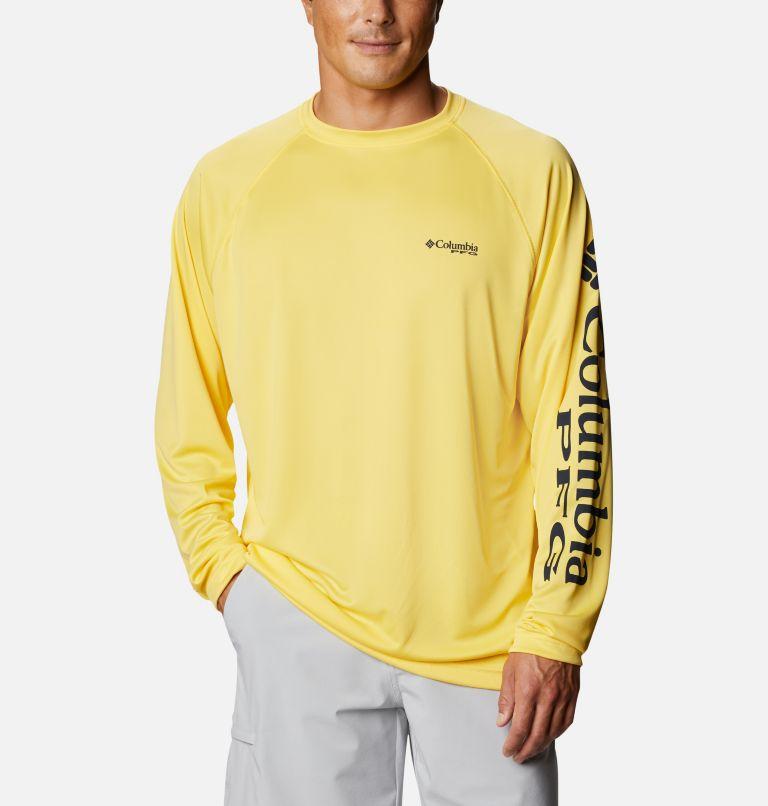 Terminal Tackle™ LS Shirt | 771 | XXL Men's PFG Terminal Tackle™ Long Sleeve Shirt, Sun Glow, Collegiate Navy Logo, front
