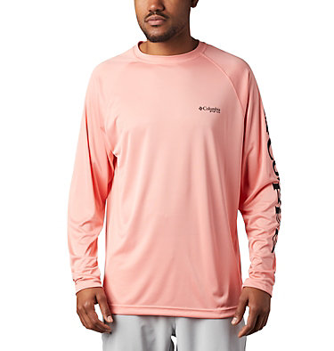 Men's PFG Terminal Tackle™ Long Sleeve Shirt Terminal Tackle™ LS Shirt | 480 | S, Sorbet, Black Logo, front