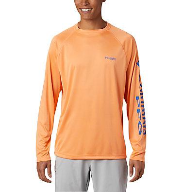 Men's PFG Terminal Tackle™ Long Sleeve Shirt Terminal Tackle™ LS Shirt | 480 | S, Bright Nectar, Vivid Blue Logo, front