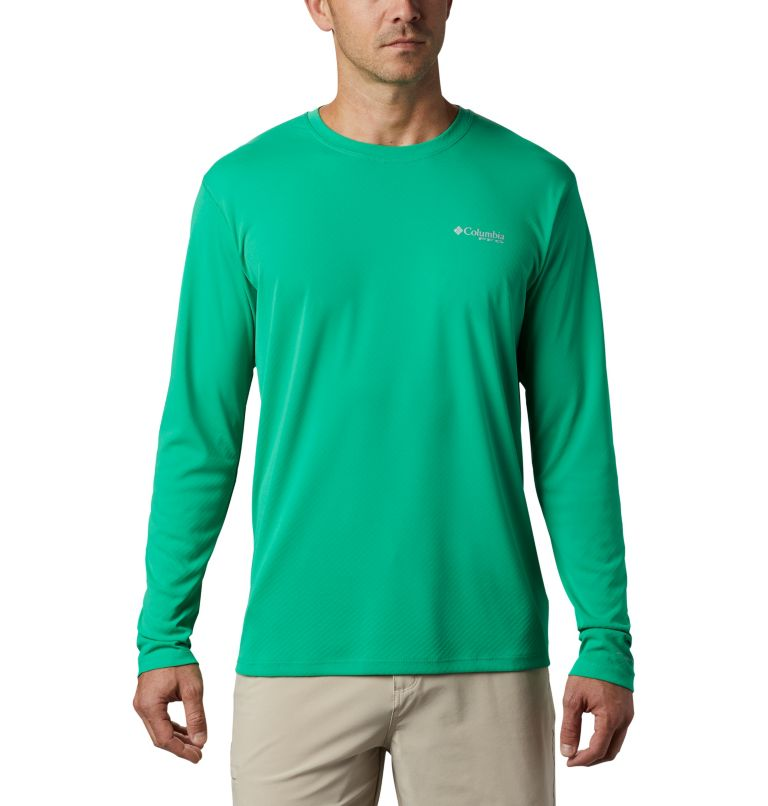 PFG ZERO Rules™ LS Shirt | 341 | M Men's PFG Zero Rules™ Long Sleeve Shirt, Dark Lime, front
