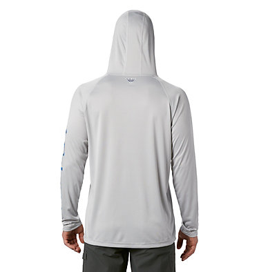 Men's PFG Terminal Tackle™ Hoodie Terminal Tackle™ Hoodie | 455 | XXL, Cool Grey, Vivid Blue Logo, back